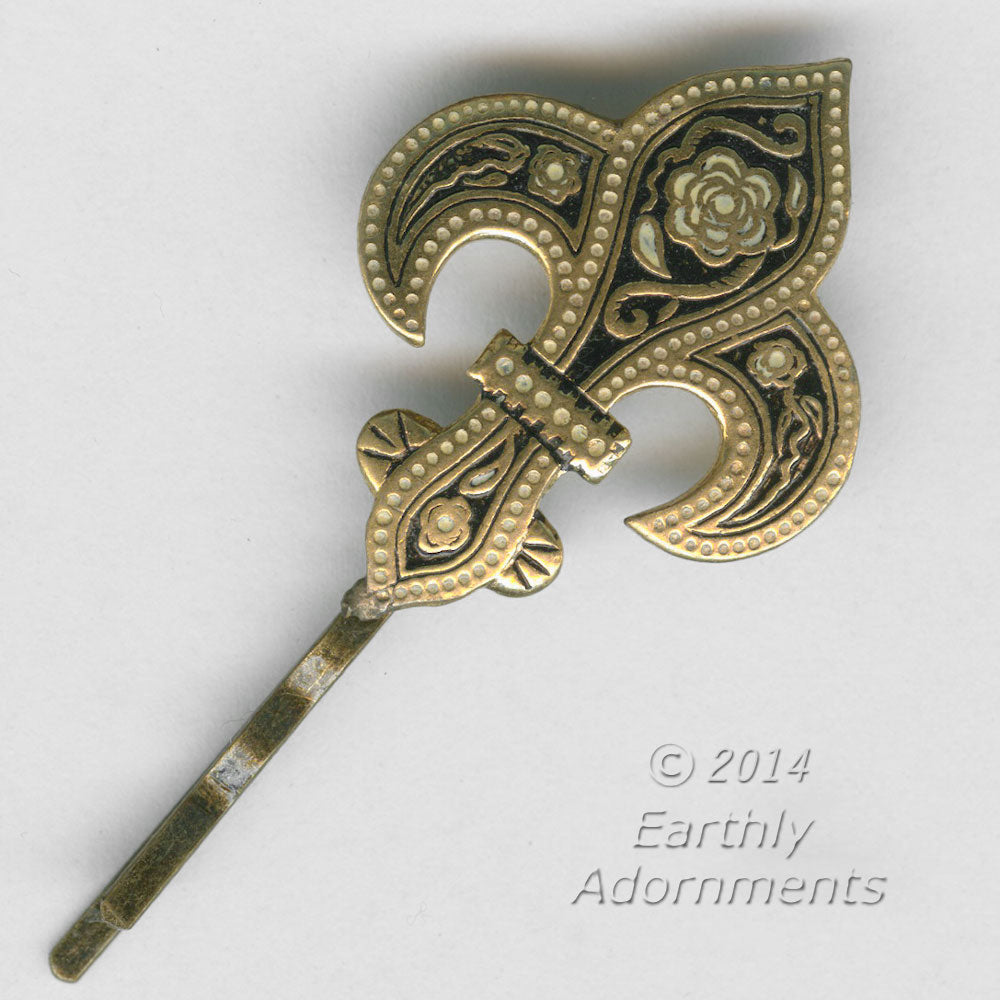 Vintage fleur de lys Toledo damascene earring repurposed into a hair pin. ac-h-0106