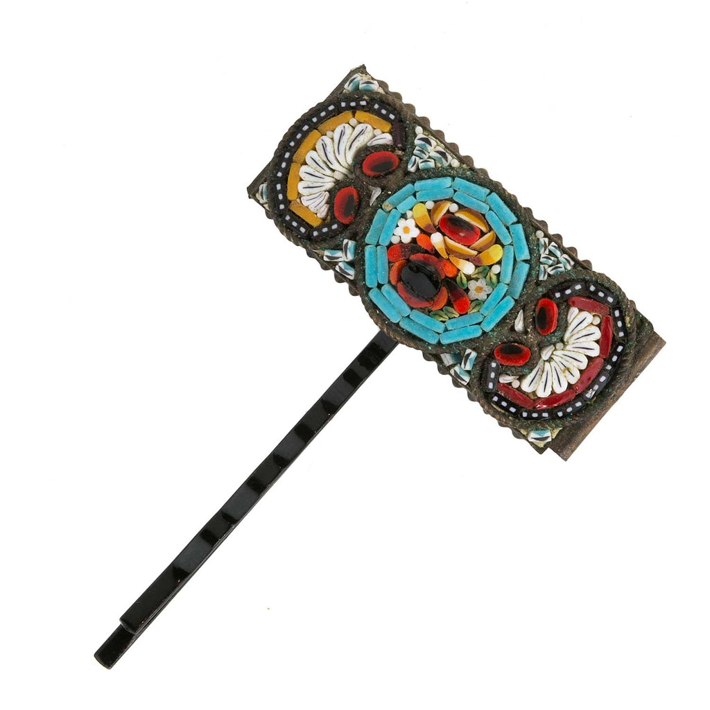 Italian antique micro-mosaic bracelet link repurposed into a one of a kind hair pin. ac-h-0146
