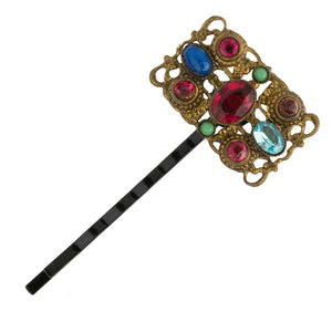 Vintage repurposed hair pin of Czech brass filigree components with glass stones. 1 1/8 x 5/8 in.  ac-h-0147