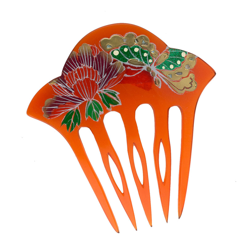 Vintage hand painted plastic Japanese Kanashi hair comb. 3-1/2 x 3-3/8 in. 1970s. ac-h-0155