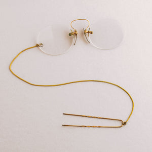 Late Victorian Pince Nez eyeglasses with gold filled hair pin and chain. 1890s. ac-h-0161