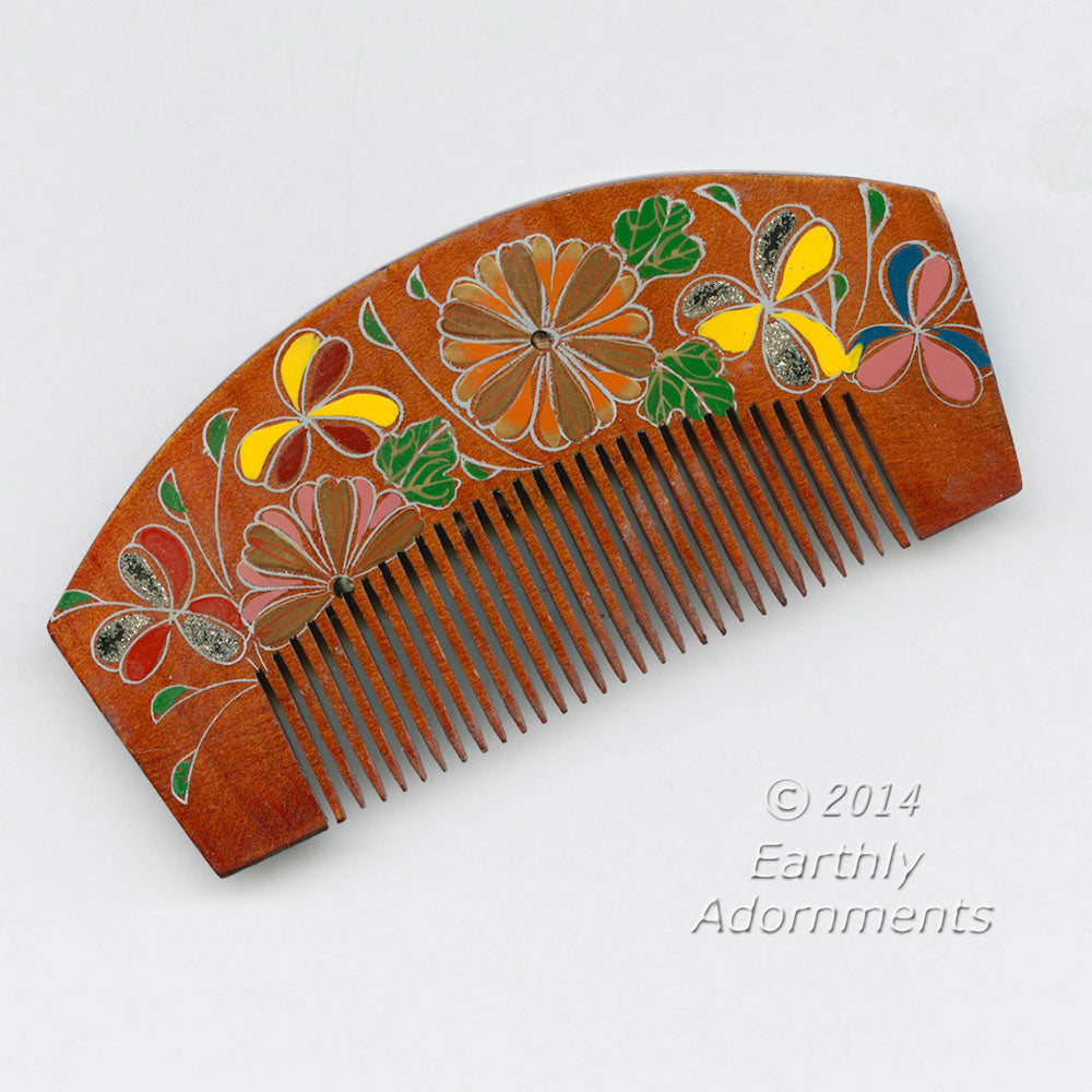 Vintage Japanese Kanzashi hair ornament, made of lacquered wood with enamel inlay in floral design j-ac-h0129