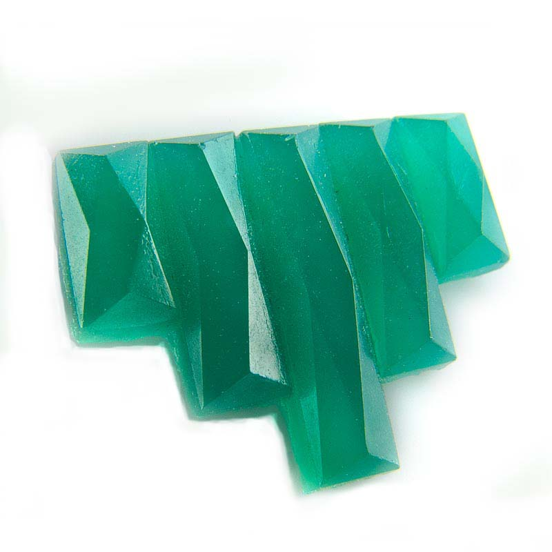 Vintage Bohemian Art Deco emerald green geometric faceted flat back stone, 15x12mm. Pkg of 4. b5-659