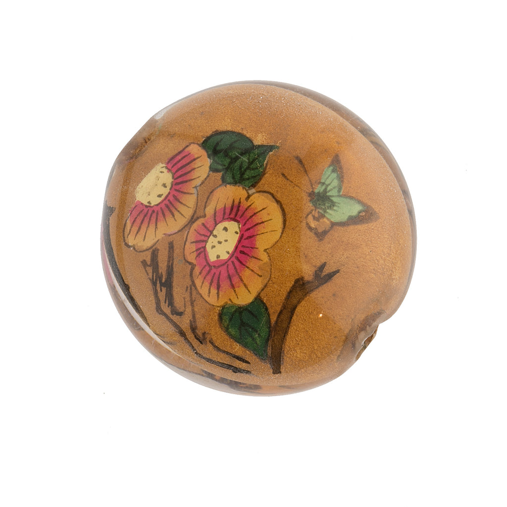 Vintage Chinese reverse hand-painted glass bead, bird and flowers, 31x17mm . Sold individually. b10-0008B(e)