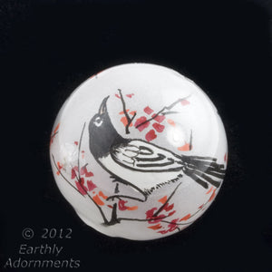 Vintage Chinese reverse hand-painted 25mm round glass bead-Magpie on branch with blossoms. Sold individually. b10-0008k(e)