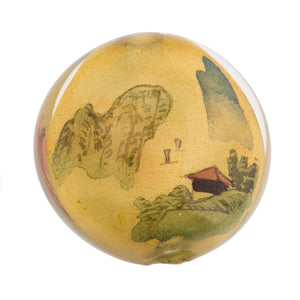 Vintage Chinese reverse hand-painted glass bead, landscape scenes, 31x20mm . Sold individually. b10-0008t