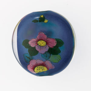 Vintage Chinese reverse hand-painted glass bead, bird and flowers, 31x17mm . Pkg 1. b10-0008c(e)