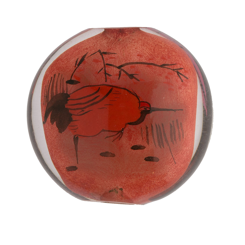 Vintage Chinese reverse hand-painted glass bead, Heron and Lotus. Sold individually. B10-0008e