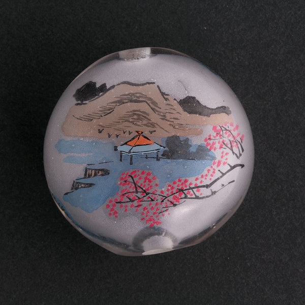 Vintage Chinese reverse hand-painted glass bead-Landscape scene.