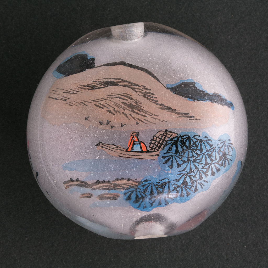 Vintage Chinese reverse hand-painted glass bead-Landscape scene. Sold individually. b10-0008g