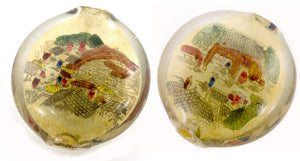 Vintage Chinese reverse hand-painted glass bead-Village scene. 25x15mm . Sold individually. b10-0008P(e)