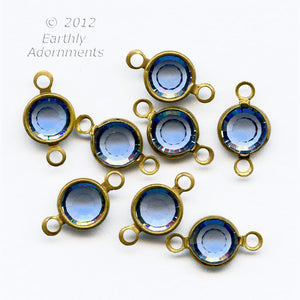 Austrian crystal 2 ring channels sapphire gold overlay 12 pieces ss29 7mm. B10-0116