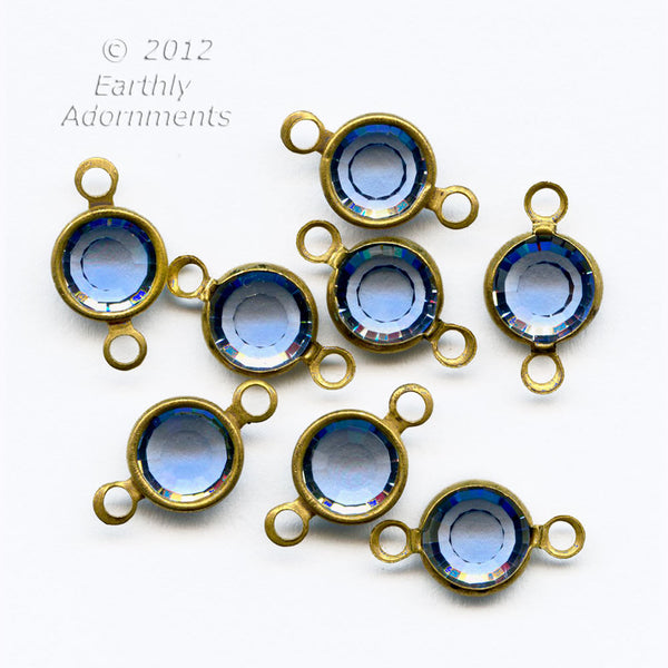 Austrian crystal 2 ring channels sapphire gold overlay 12 pieces ss29 7mm. B10-0116(e)