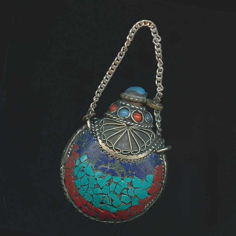 b10-0336d-Silver snuff bottle with coral, lapis and turquoise inlay Nepal 2.75x1.25x.75 inches