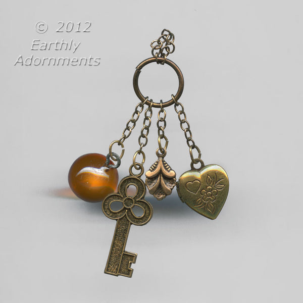 3 brass charms and an amber glass bead on a jump ring, from a designer's warehouse, 2pcs. b10-0349(e)