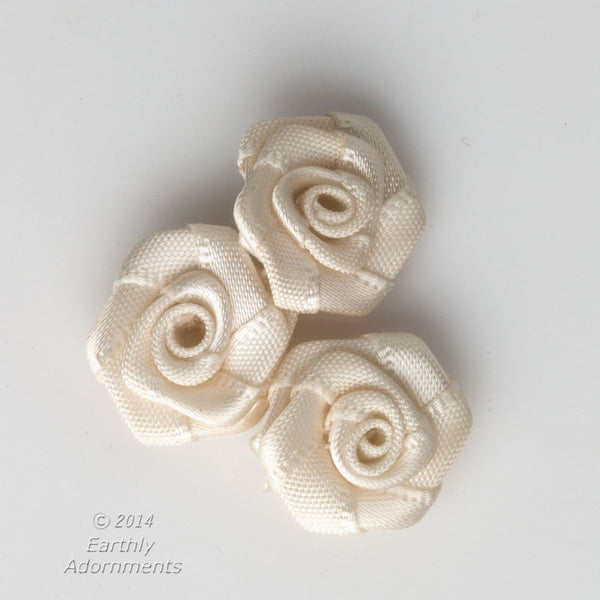 b10-0389- Vintage hand sewn satin roses, 14mm diameter, package of 10.
