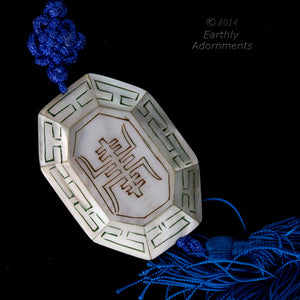 B10-0101 Vintage Chinese Mother of Pearl Inlaid etched and painted bead 27x35x10mm
