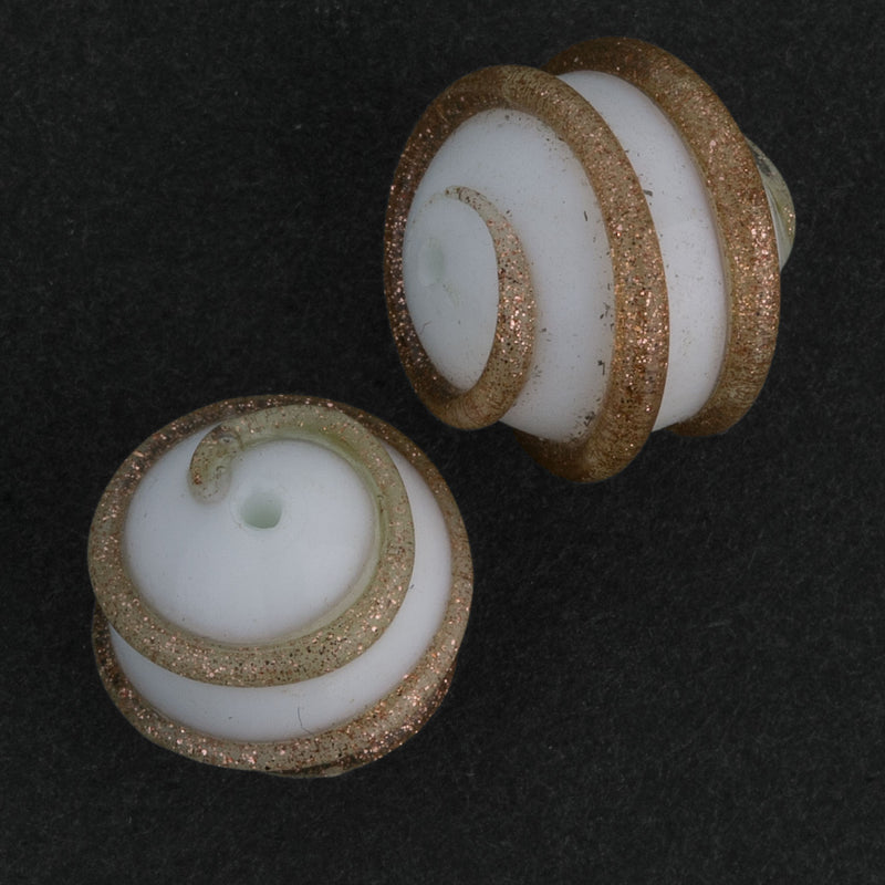 Vintage Venetian lampwork. White with Aventurine rounds, 13-15mm, sold individually. b1-606