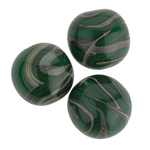 Vintage Japanese green and grey lampwork swirling marble rounds, 14mm, sold individually. b1-644(e)