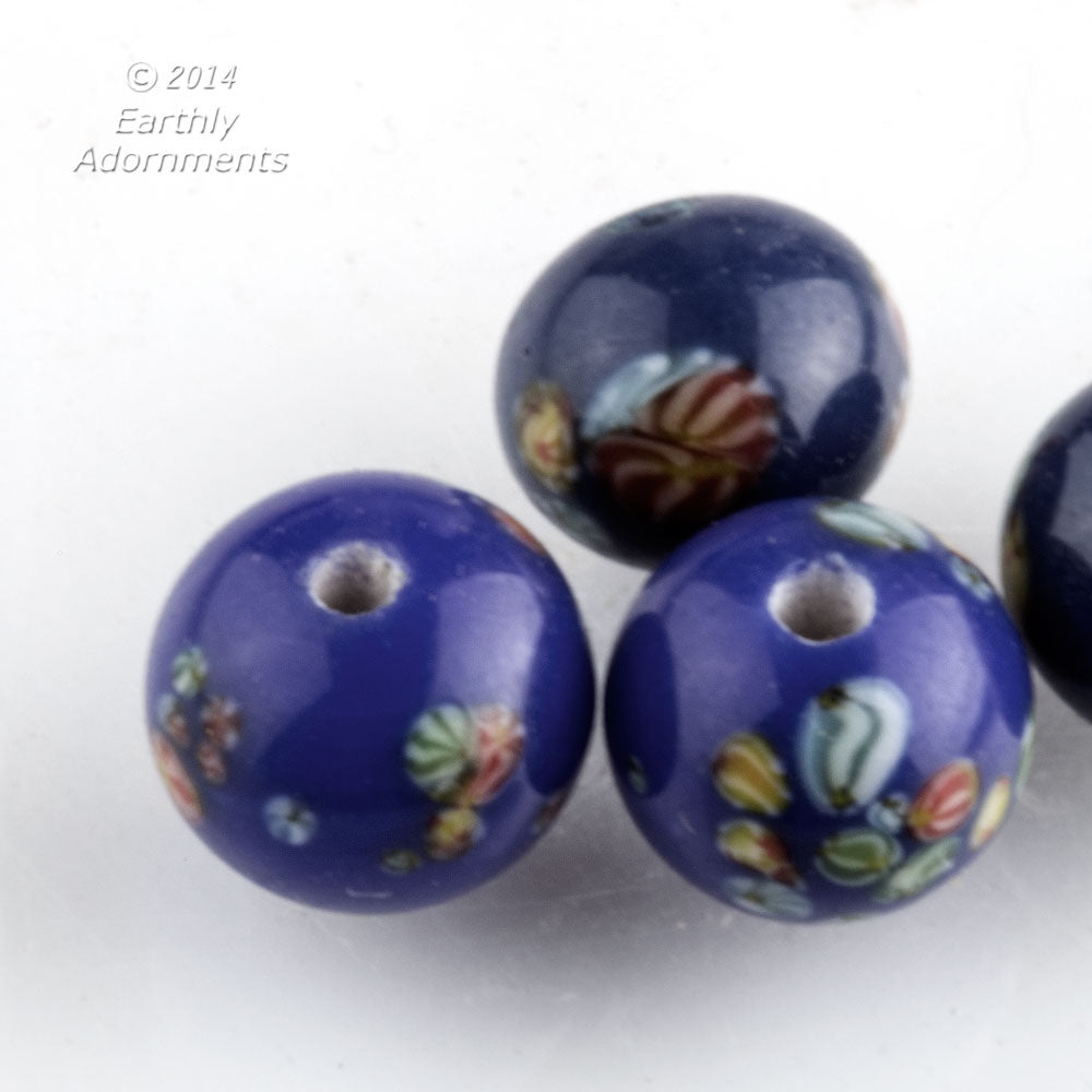 Vintage Japanese millefiore cane cobalt blue rounds. 8mm. Package of 6. b11-bl-2093