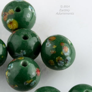 Vintage Japanese millefiore cane moss green rounds. 9-10mm. Package of 5. b11-gr-2020