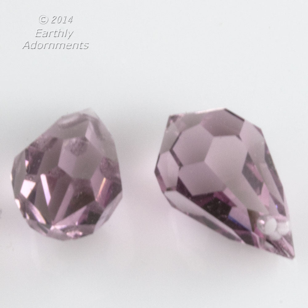 Preciosa light amethyst teardrop pendants, Art. 452, 10x6mm. Pkg. of 4. b11-pp-1236