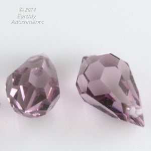 Preciosa light amethyst teardrop pendants, Art. 452, 10x6mm. Pkg. of 2. b11-pp-1236