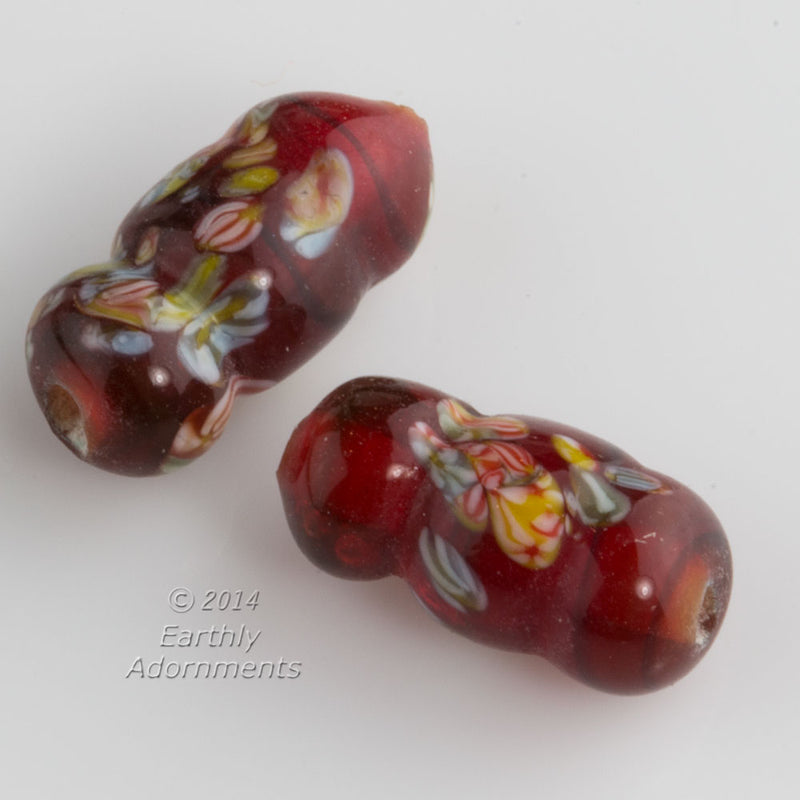 Vintage Japanese millefiore twist beads in translucent white core ruby red. 11x7mm. Package of 2. b11-rd-0873