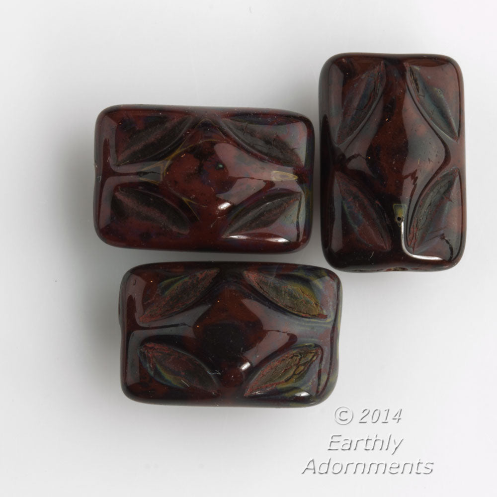 Vintage pressed glass mahogany luster rectangles. 12x8x7mm. Pkg of