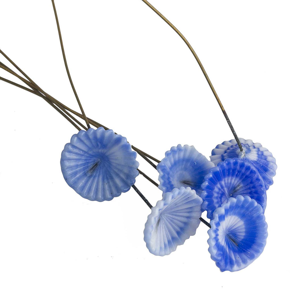 Vintage blue & white glass flowers on wire. 15mm x 76mm Pkg of 6. B11-BL-0636