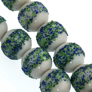Vintage German sugar beads aqua blue. 10mm. Pkg of 5. B11-BL-0437(e)