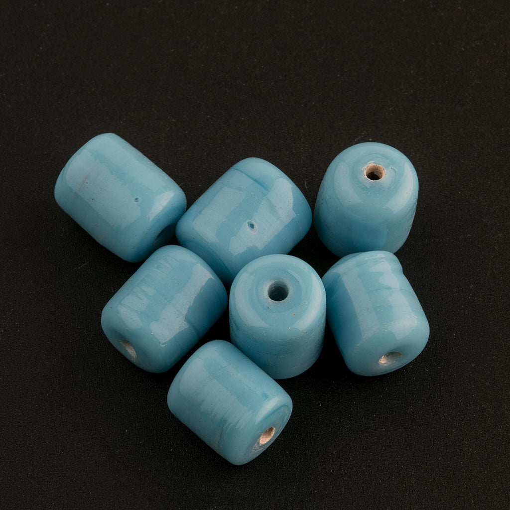Vintage Turquoise Glass Barrel Beads. 10x6mm. Pkg of 10. India. B11-BL-0550