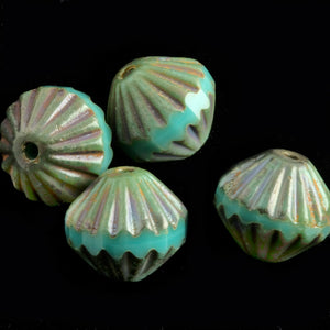 Czech fluted turquoise picasso bead. 9mm. Pkg of 6. b11-bl-0774