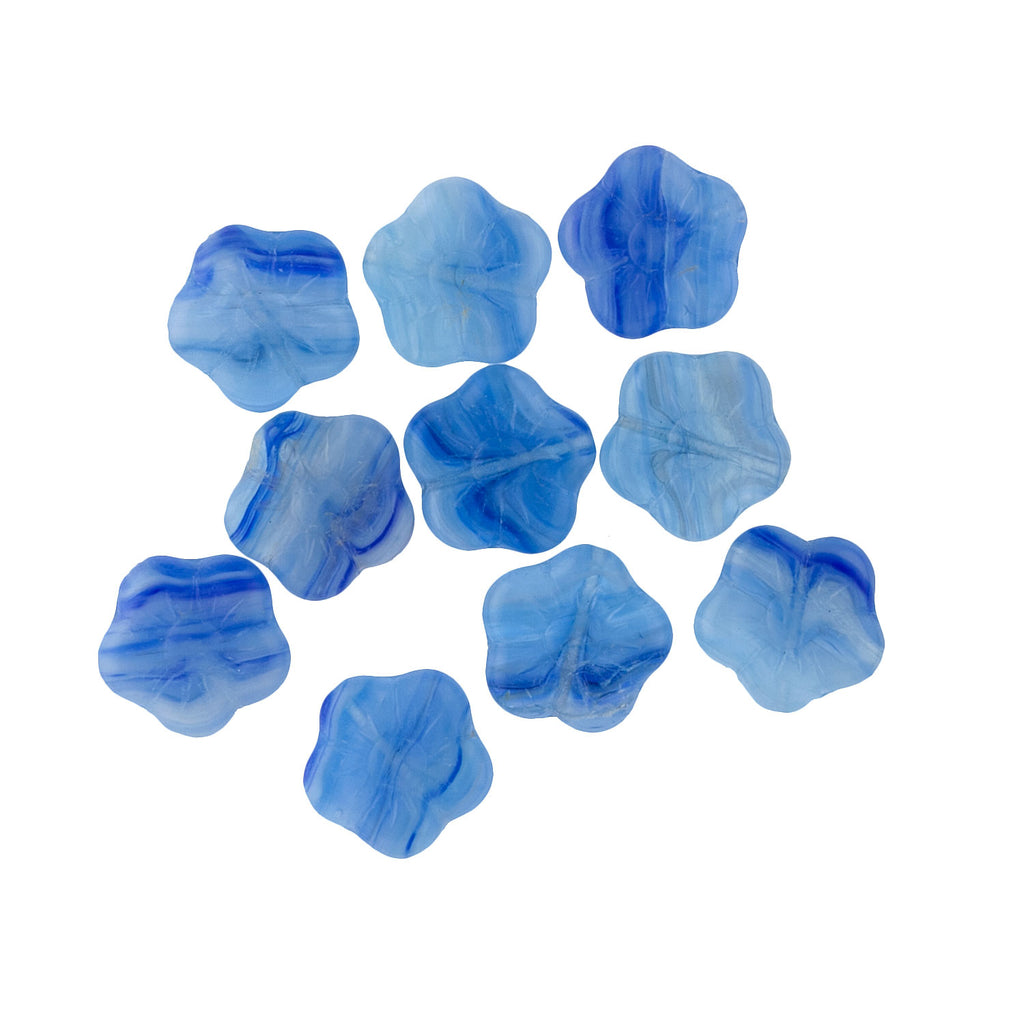 Czech faux agate pressed flower beads. 15mm. Pkg of 10. b11-bl-0786(e)