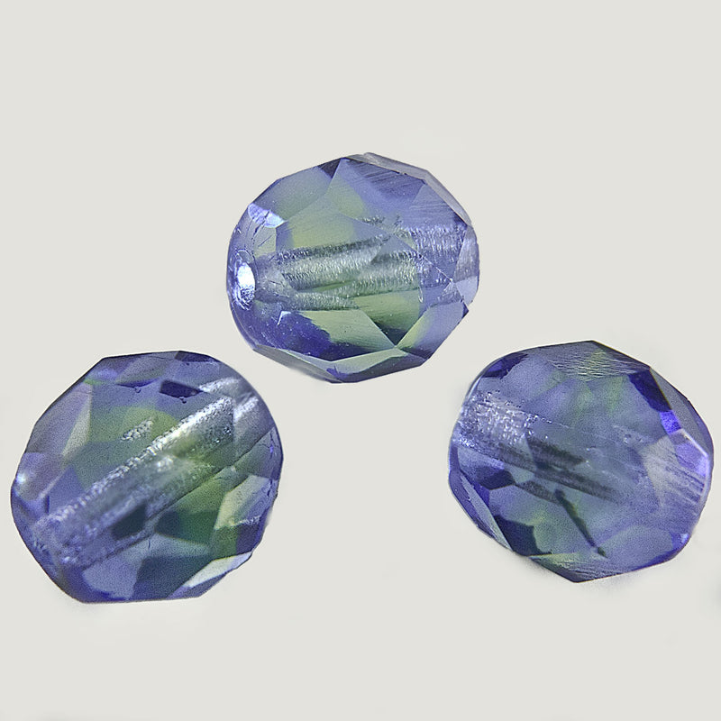 Czech blue and green faceted 8mm firepolished beads. Pkg of 20.