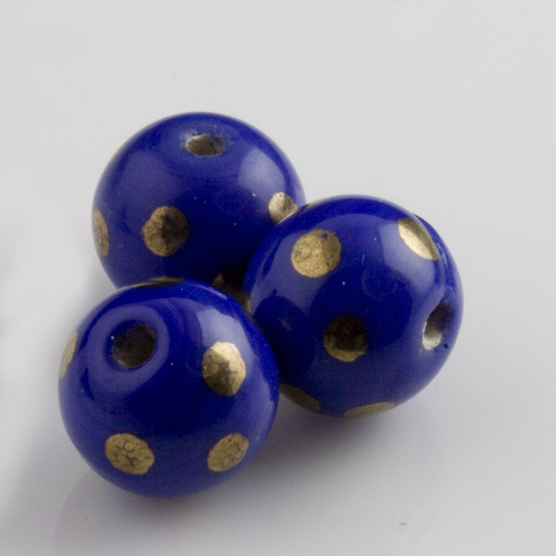 Cobalt Blue Round Bead with Gold Dots. 11mm. Pkg of 5. b11-bl-0811