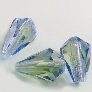 Czech blue-green faceted teardrop. 12x8mm. Pkg of 6. b11-bl-0813
