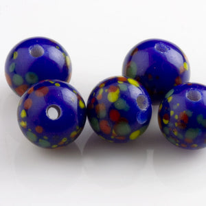 Vintage Japanese spotted color beads. 9mm. Pkg of 6. b11-bl-0890(e)
