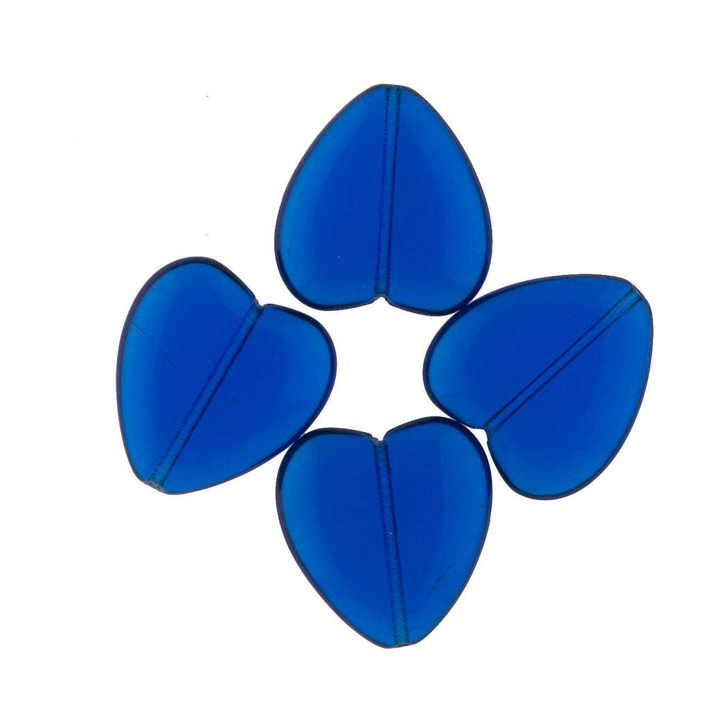 Vintage capri blue hearts. 22x24mm. Pkg of 4. b11-bl-0924