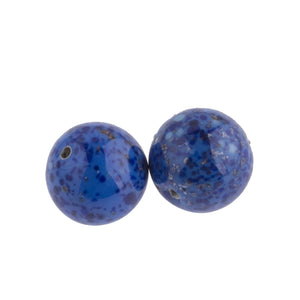Handmade Contemporary Czechoslovakian Lapis Glass Beads with Aventurine Sparkles. Identical to Early 19th Century Bohemian Lapis Glass Beads. 12mm. Package of 2. b11-bl-0936-2