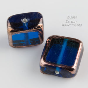 Czech lampwork bead. Sapphire blue square with gold edges, 14x14x7mm Pkg of 1. b11-bl-0937
