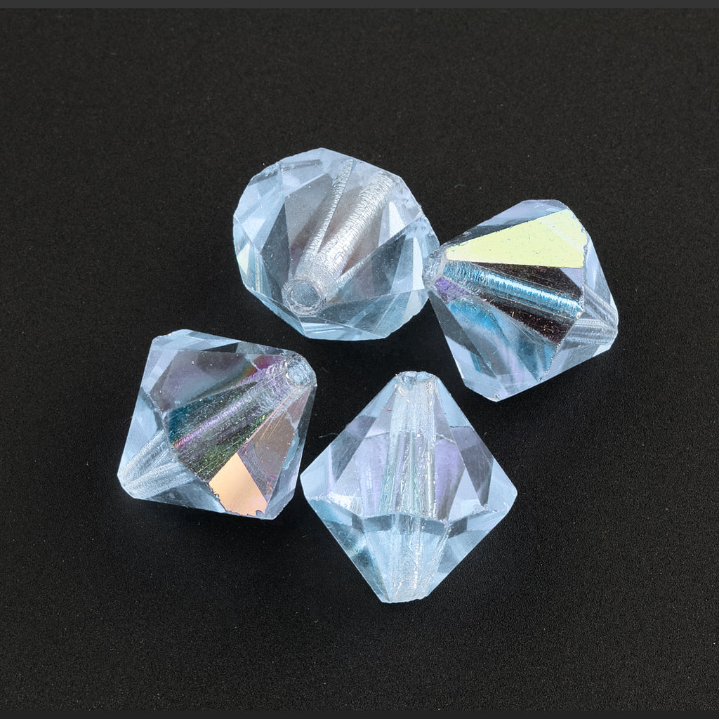 Vintage Austrian cut crystal AB light blue bicones.10x9mm. Pkg of 4. b11-bl-0983-3