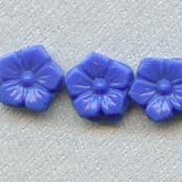 Antique Bohemian opaque flat back glass flower nailhead beads. 3x8mm. Strand of 25. b11-bl-1059(e)