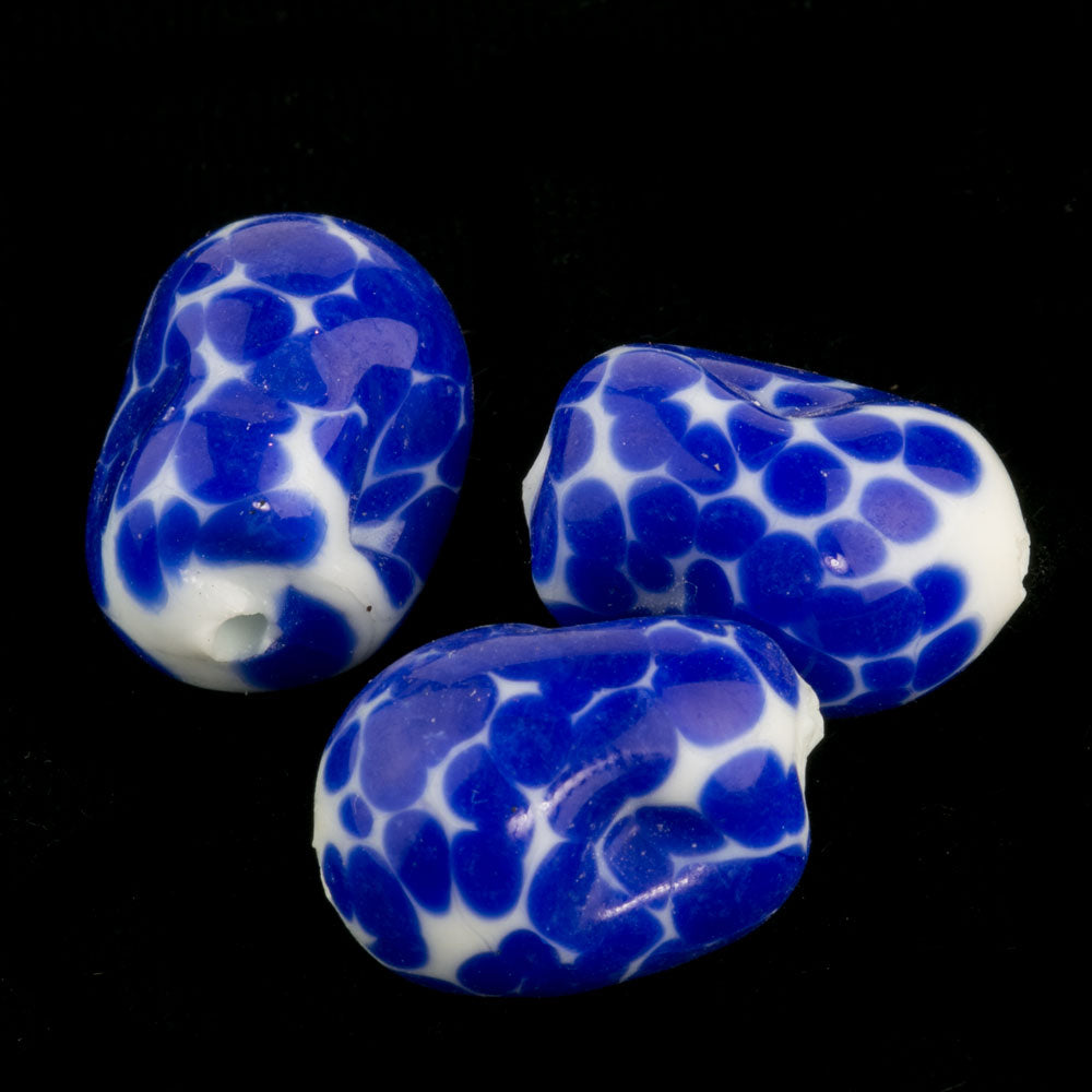 old Japanese lampwork crumb beads. 12x18mm. Pkg of 1. b11-bl-1063(e)
