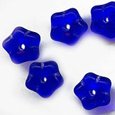 Vintage Austrian translucent cobalt blue flower bead. 6mm. Pkg of 25. b11-bl-1073