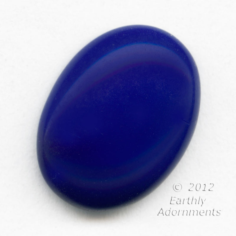 Vintage West German lapis blue oval glass cabochon 16x11mm. Pkg. of 4. b5-903