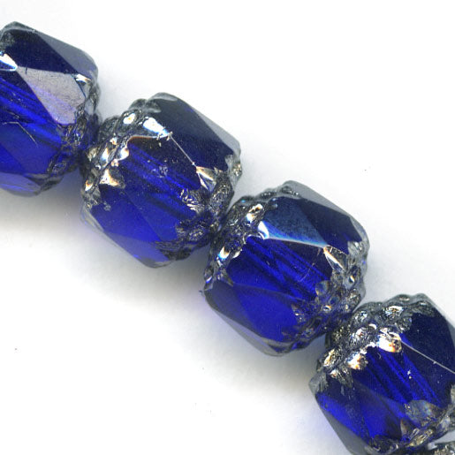 Czech cobalt blue cathedral beads with silvered edges. 10mm. Pkg of 6. B11-bl-1094