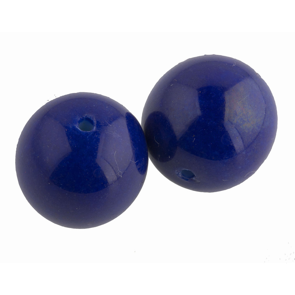 1920s Opaque Cobalt blue glass 16-18mm rounds. France. Package of 2. b11-bl-1101