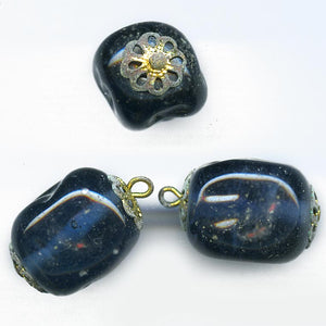 Vintage translucent midnight blue lampwork bead 20x18mm pkg of 2. b11-bl-1103