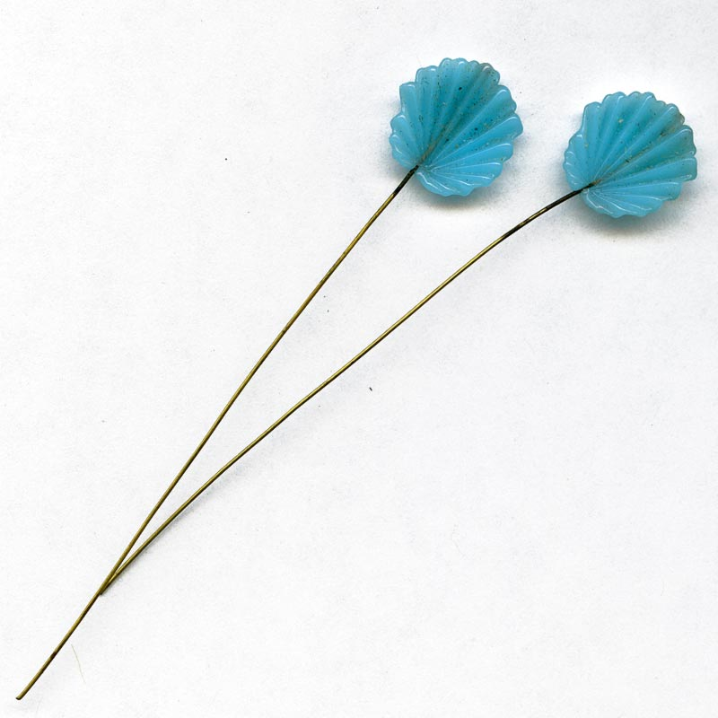 Vintage Japanese turquoise glass fan leaves on wire. Pkg of 6. b11-bl-1105(e)